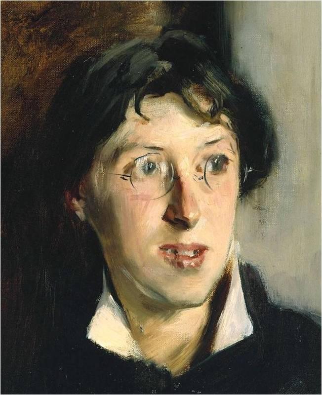 Джон СингерСанрджент. Портрет Вернон Ли. Деталь (1881)