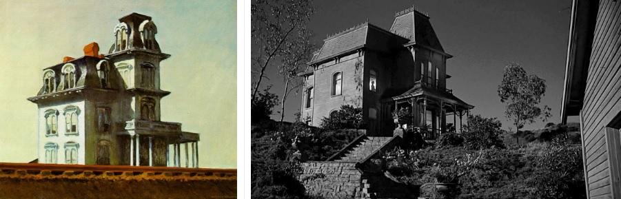 Слева: «Дом у железной дороги» Эдварда Хоппера, справа кадр из фильма «Психо»
