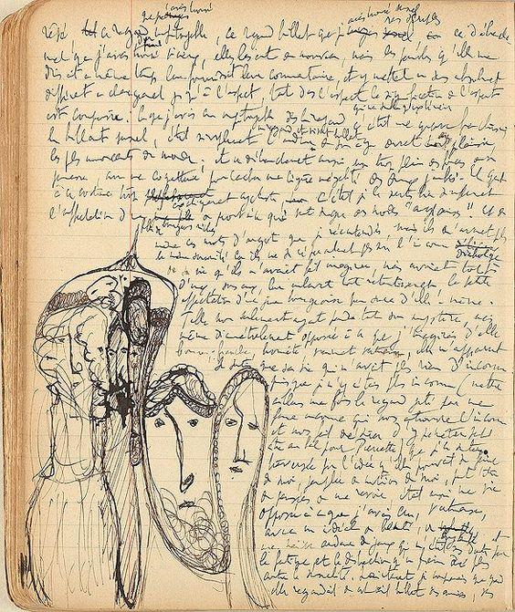 Страница из рукописи «По направлению к Свану» с рисунками Марселя Пруста