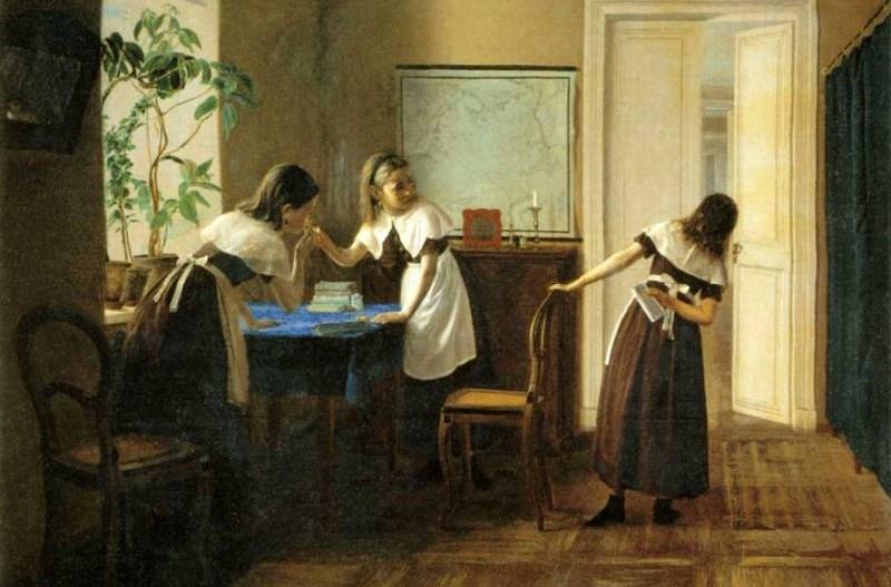 Михаил Петров. Пансионерки (Пансионерки. Первая папироса). 1872 год