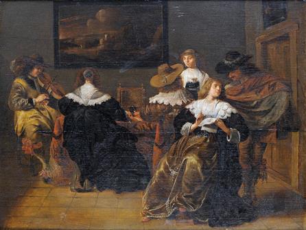 Питер Кодде, круг Галантная сцена, 1638 г. Дерево, масло. 40,5×50,5 см27 октября 2010 г., Лондон, аукцион Bonhams London,