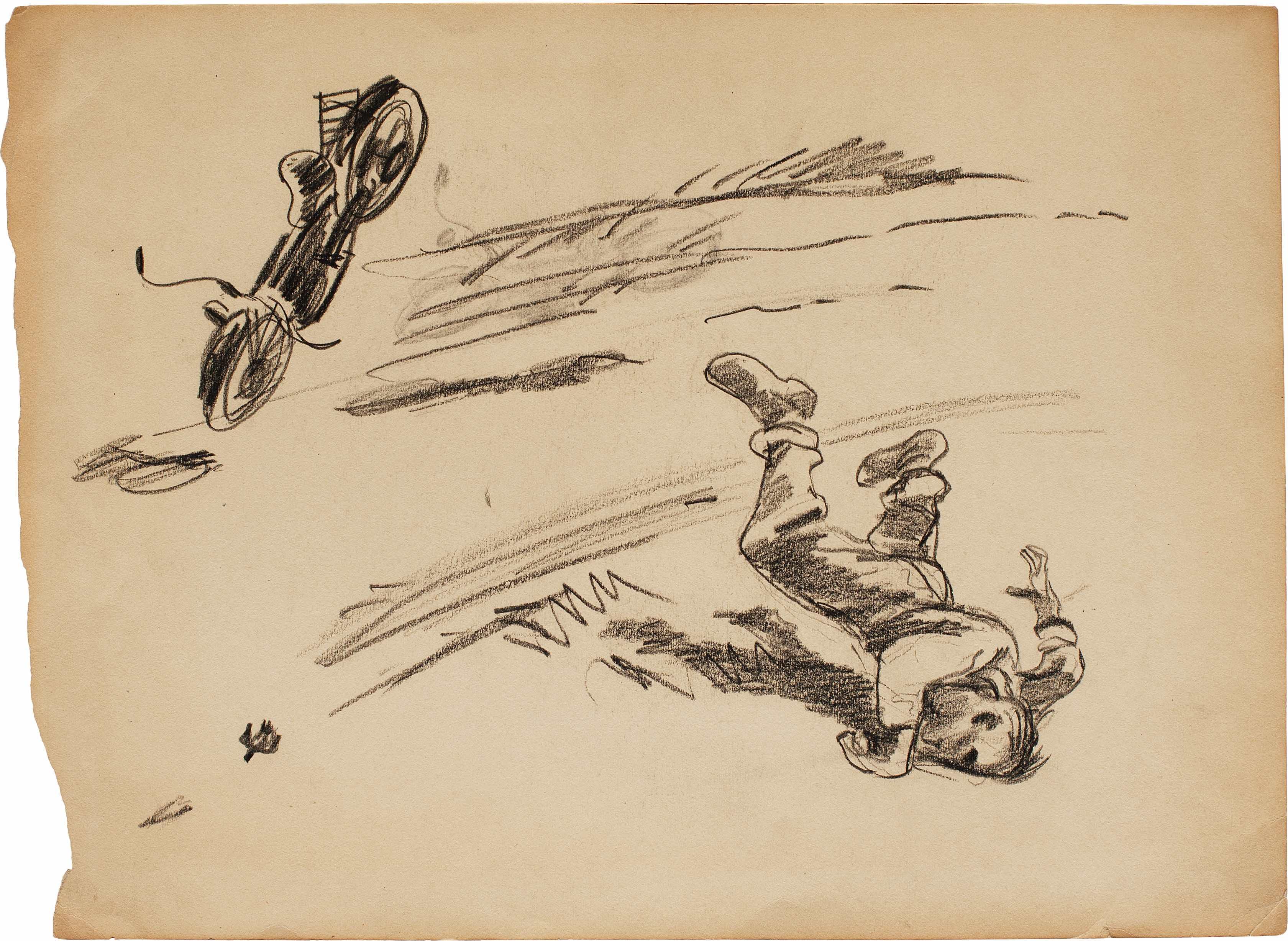Александр Дейнека. «Из фронтовых рисунков. (Мотоциклист)».1942