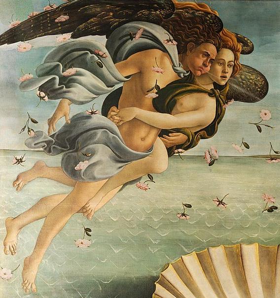 Сандро Боттичелли. Рождение Венеры (фрагмент). 1482—1486. Уффици, Флоренция