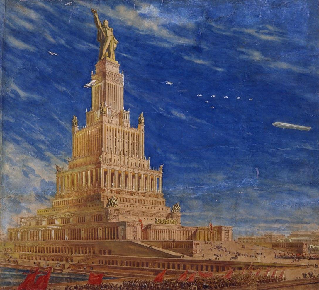 1933, Б. М. Иофан, В. А. Щуко, В. Г. Гельфрейх, проект Дворца Советов