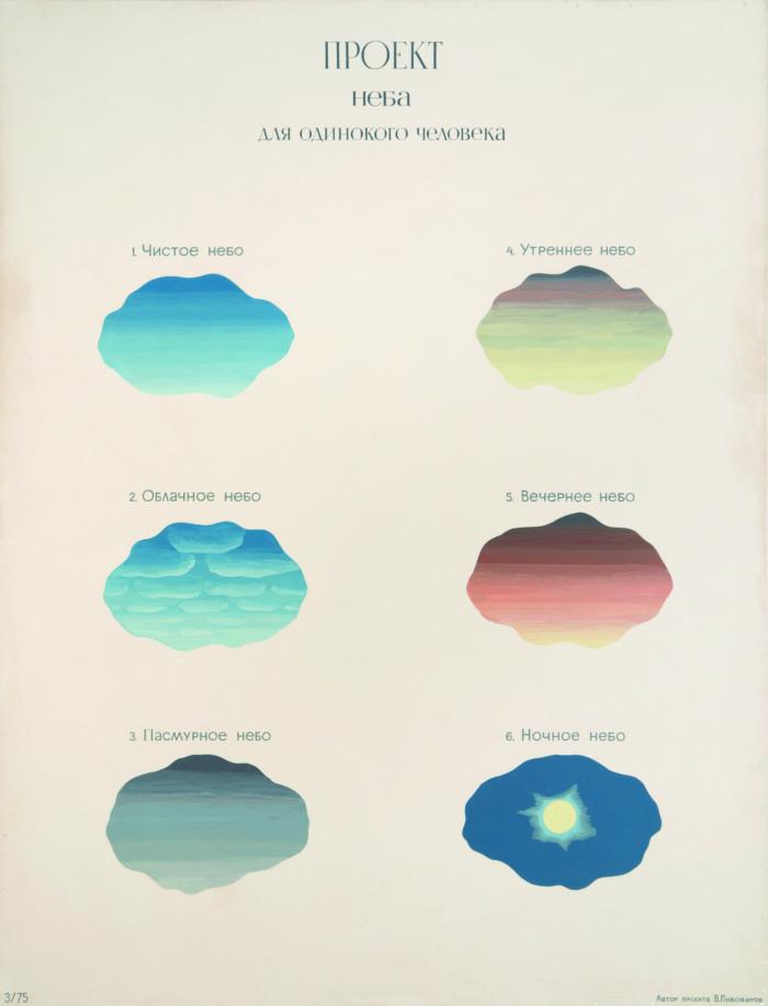 Проект неба для одинокого человека, 1975 Эмаль, оргалит, 170×130 cм