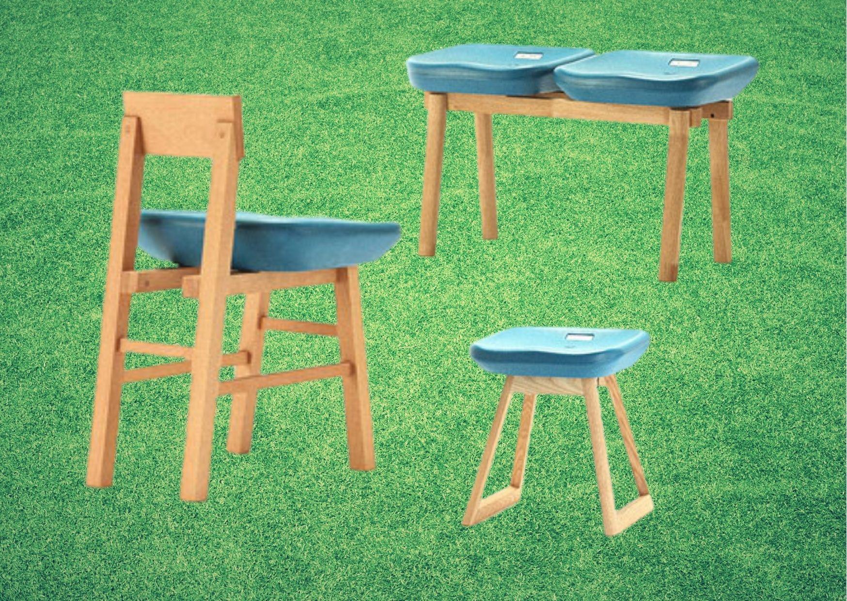 Табуреты и стулья по мотивам синих сидений старого стадиона