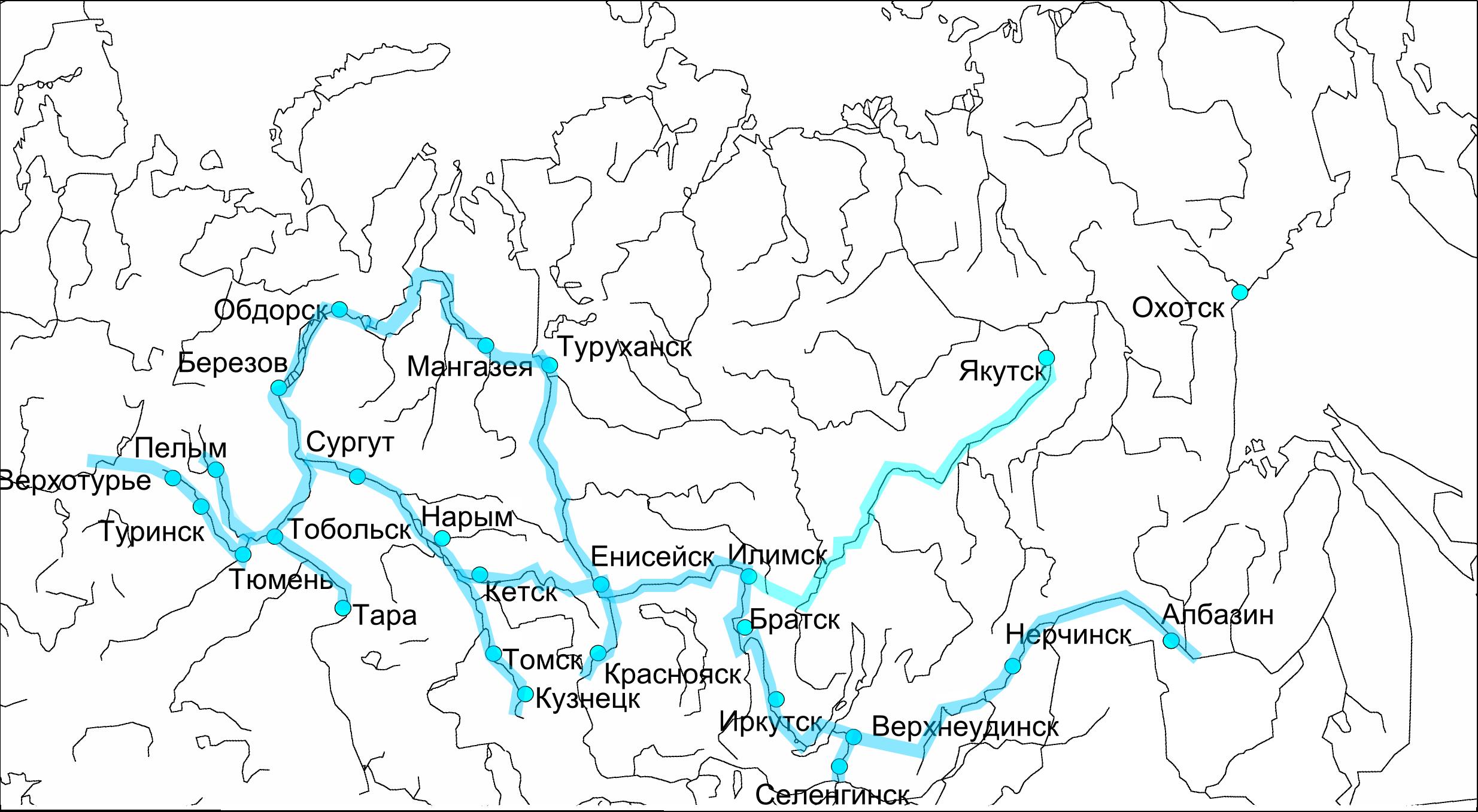 <i>Карта сети военных укреплений и основных судоходных рек к середине XVII века. РисунокИвана Соколовского</i>