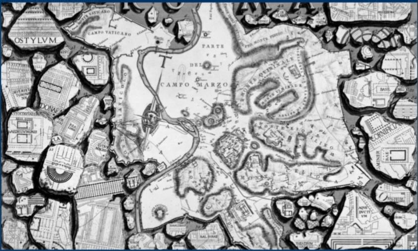 Пиранези. «Карта античного Рима» из серии «Римские древности». 1756.