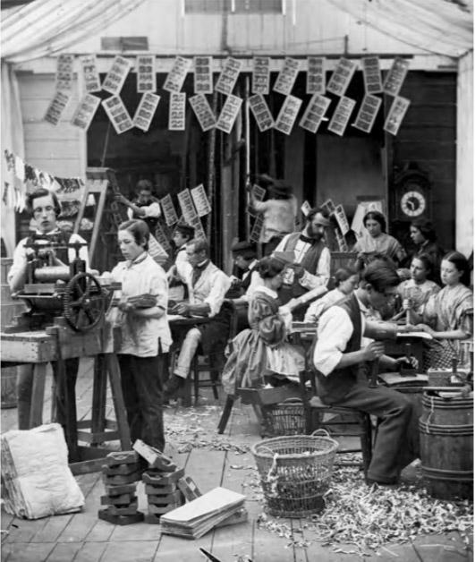Изготовление стереографов, Париж, конец 1850-х.