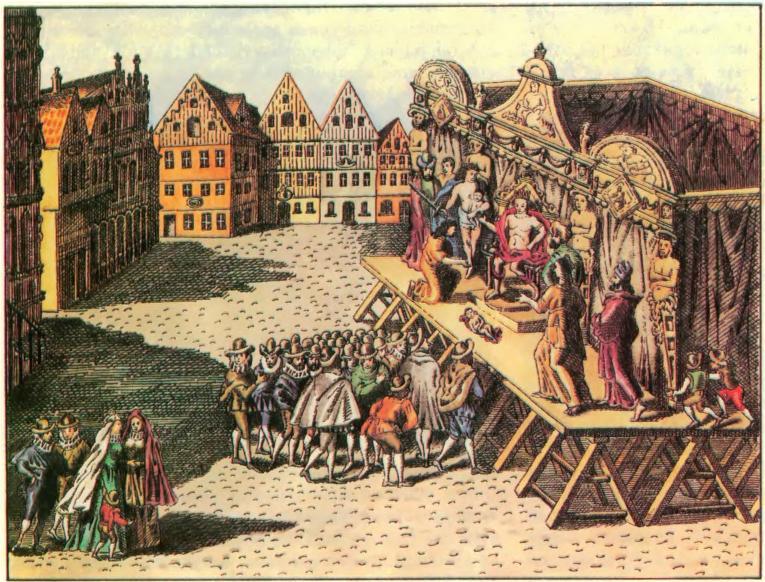 Представление на театральной площади в Лёвене, 1594 г.