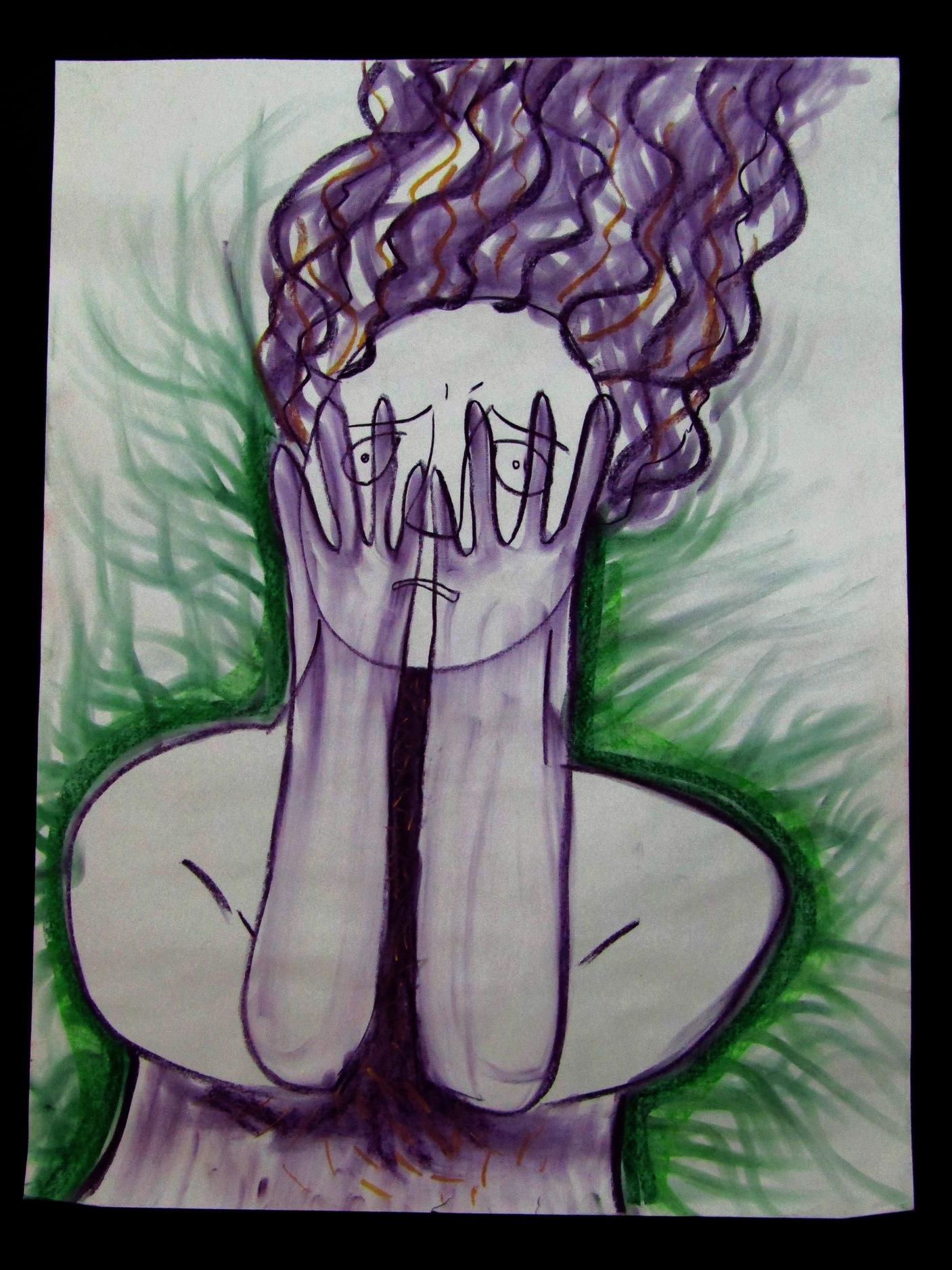 На рисунке изображена женская фигура по пояс. Контуры её тела обозначены черным цветом и обрамлены зелеными волнистыми ли