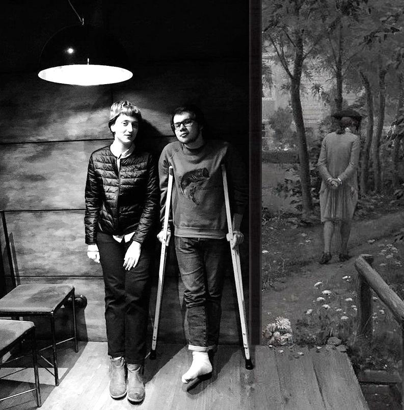 В рамках картины Эдмунда Блэра Лейтона «Прочь» и фотоизображения поэтов Елены Фофановой и Влада Гагина — автор снимка Ана