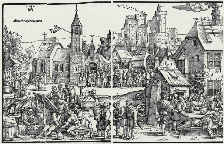 Средневековый европейский город, гравюра