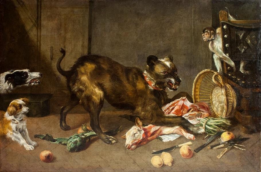 Снейдерс, Франс Собаки на кухне Фландрия, первая половинаXVII века Холст, масло. 118×178 см БСИИ ASG, инв. № 04-0916