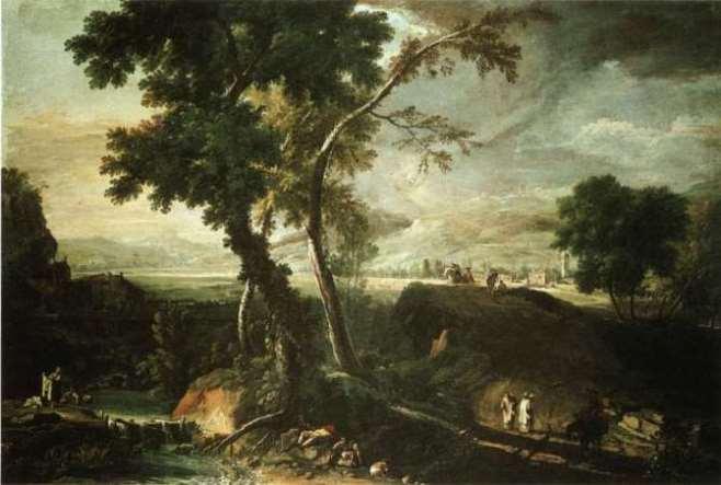 Риччи М. «Пейзаж с монахом и прачками». Венеция, ок. 1720. Галереи Академии