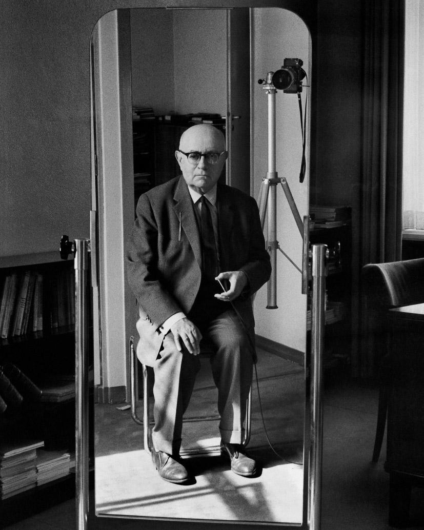 adorno-theodor-1963: Theodor Adorno, Self portrait, 1963
