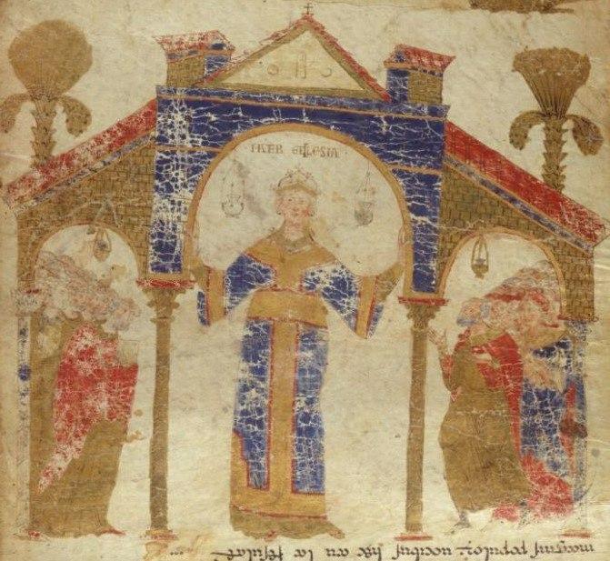 Прям под изображением матери-природы с сисяндрами запечатлена мать-церковь, (мать-Экклесия), по правую руку которой - кли