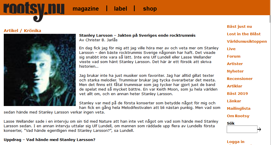 """Скриншот с сайта Rootsy. """"Стэнли Ларссон - охота за единственным шведским рок-барабанщиком"""""""