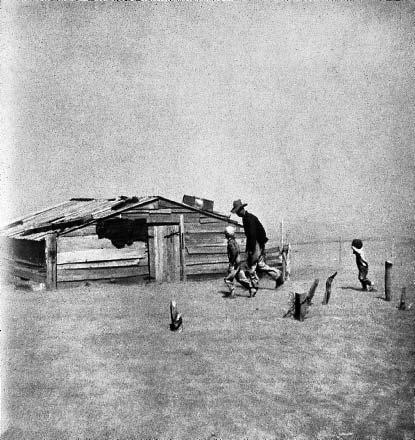 Артур Ротштейн, Отец и сыновья, идущие в пыльной буре, Симаррон, Оклахома, 1936 год.