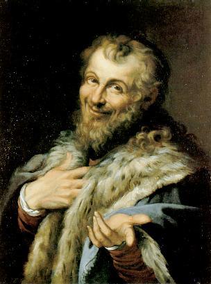 Демокрит, картина Агостино Карраччи, 1598 г.