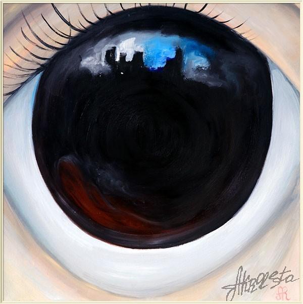 Фрагмент картины Маргарет Кин, заблудившийся в большом городе.