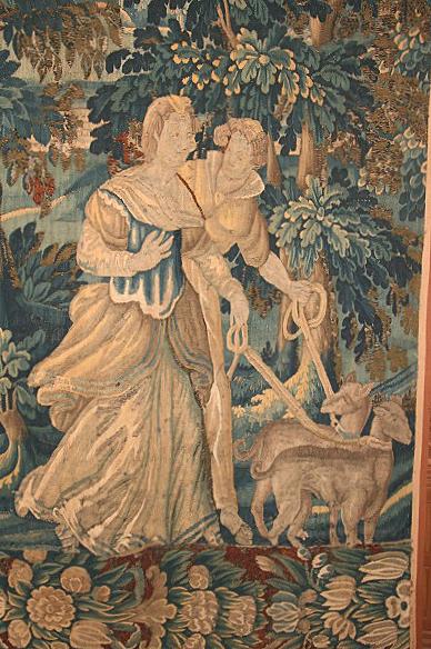 Шпалера «Диана и Актеон» (фрагмент)Франция, Обюссон, XVIII в.Шерсть, шелк; шпалерное ткачество 246×118 смБСИИ ASG, инв. №