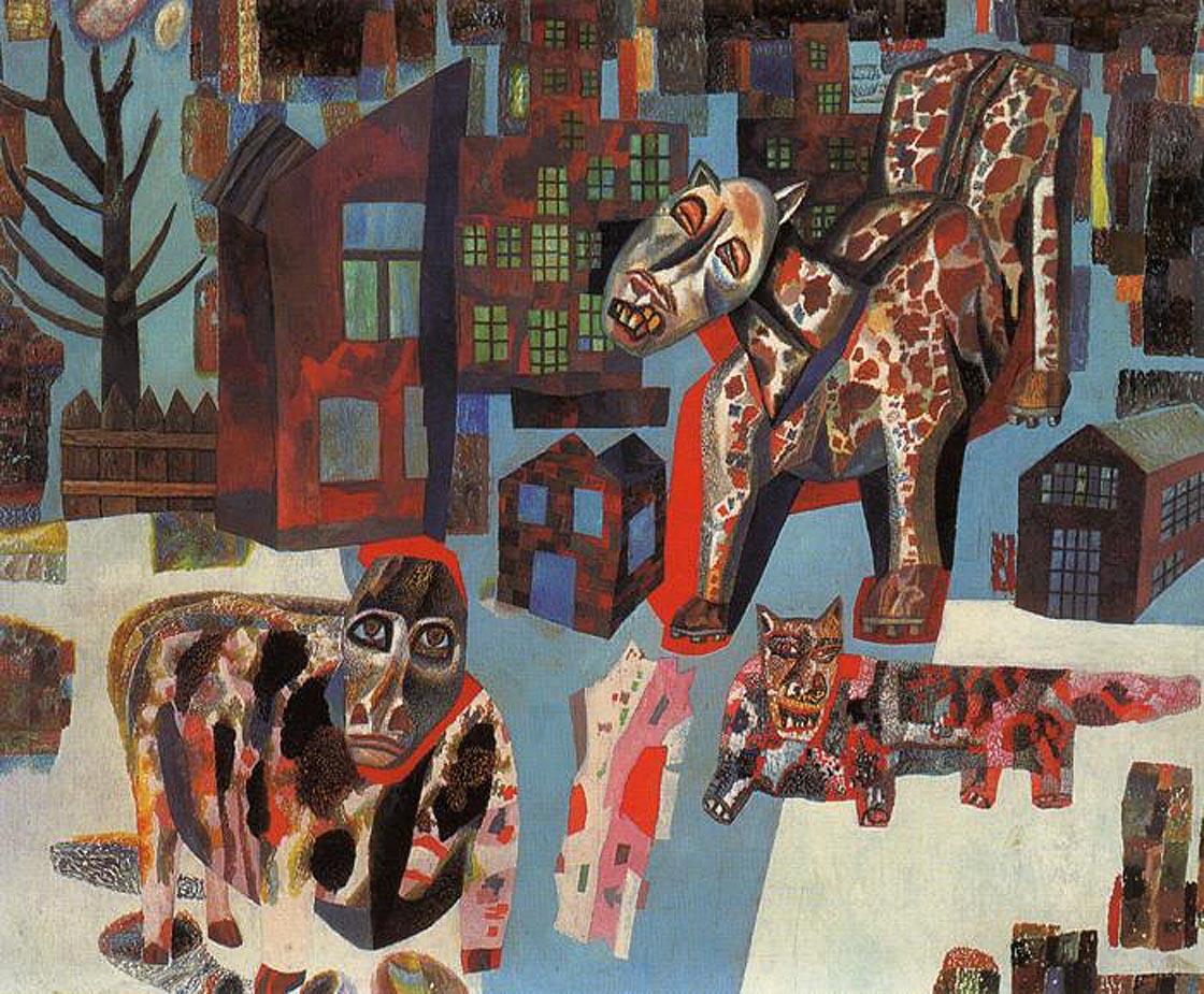 Павел Филонов. Животные. 1930. Бумага, масло