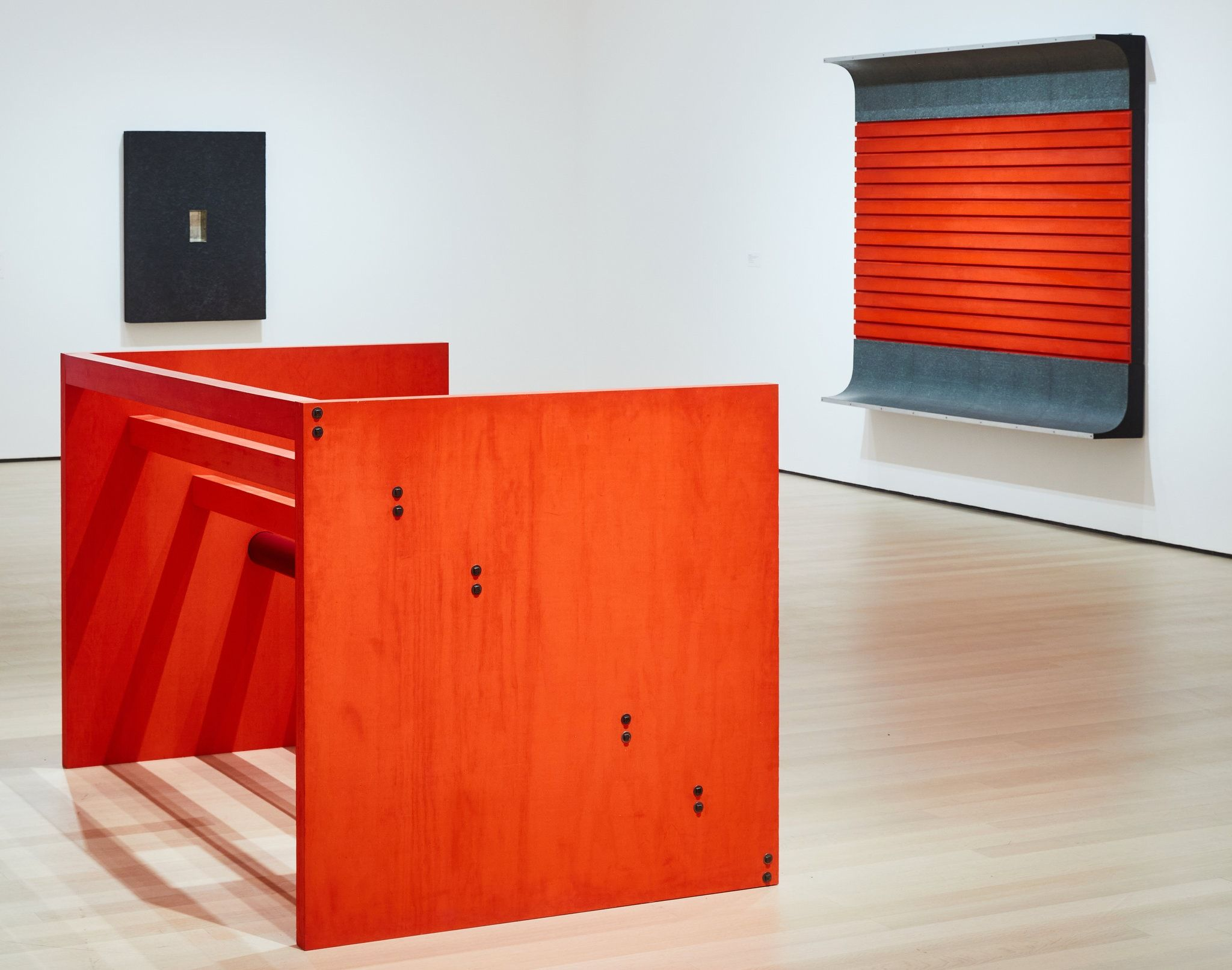 """An installation view showing, in the foreground, """"Untitled"""" (1963/1975); one of Judd's earliest experimental objects (fro"""