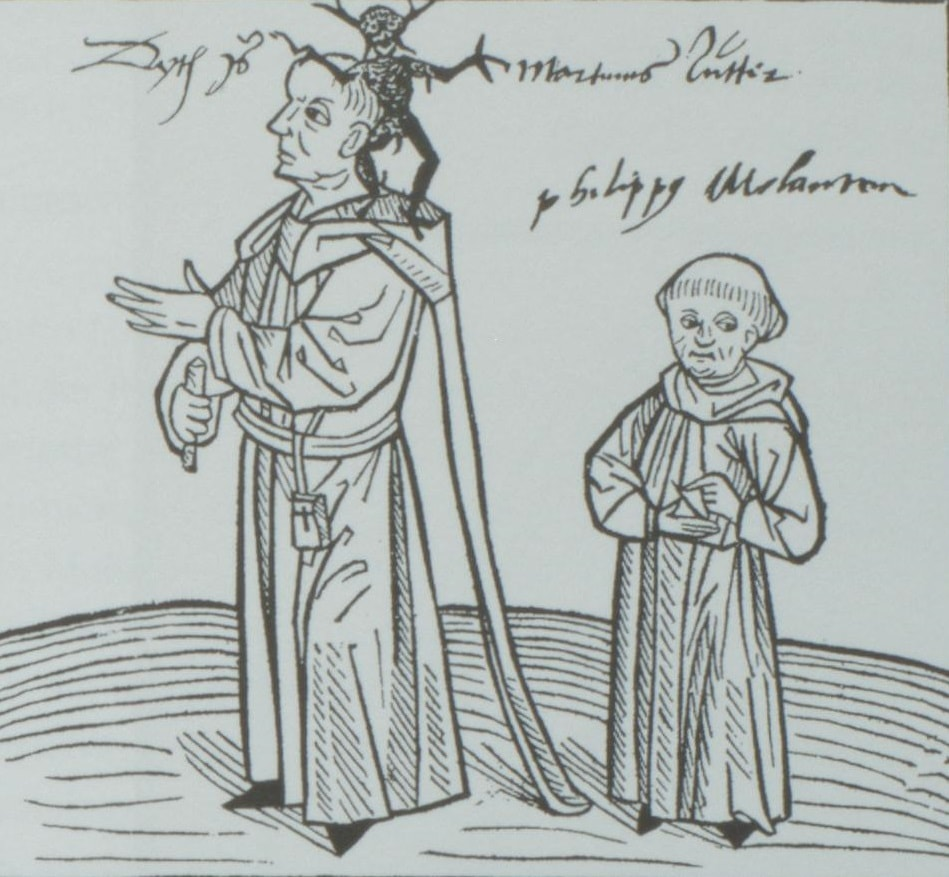 10. Позднейшая надпись, сделанная от руки: «Это – Мартин Лютер». Монашек справа подписан как Филипп Меланхтон, известный