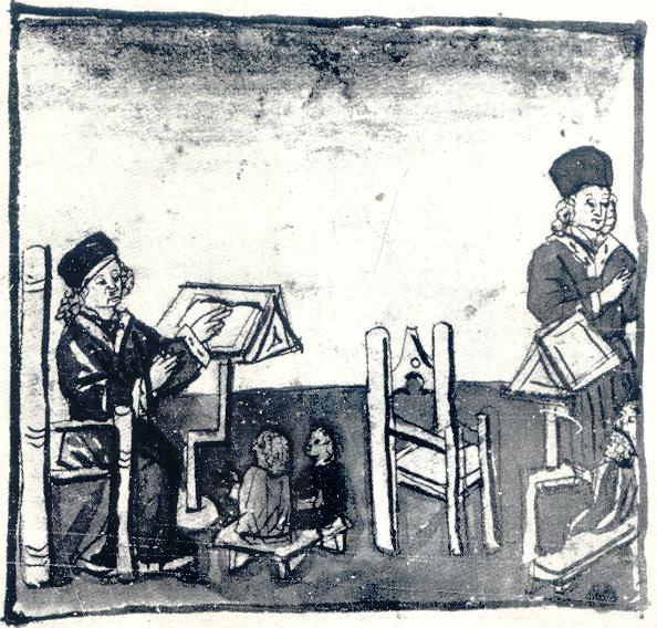 Августин покидает кресло учителя и уходит из класса. Миниатюра из «Жизни Святого Августина». Бостонская публичная библиот