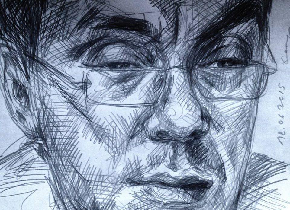 Борис Немцов. Карандашный портрет, выполненный Хейдиз в ходе ее Арт-марафона длиной в 365 дней.