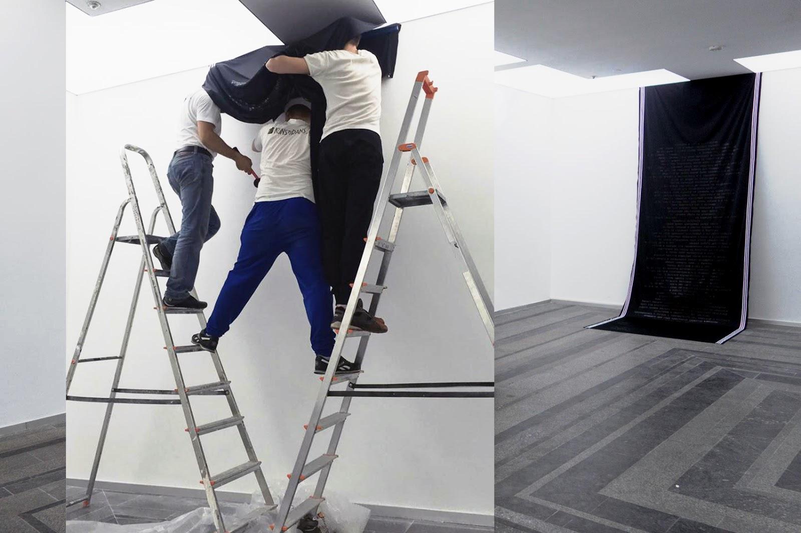 Процесс установки инсталляции Анны Ротаенко «Рушник», Пинчук-арт-центр, 2017 © https://rotaenkoann.com
