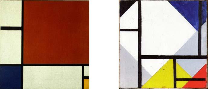 Слева: Пит Мондриан. Композиция №2 из красного, синего и желтого.1930.Справа: Тео ван Дусбург. Одновременная контр-композ