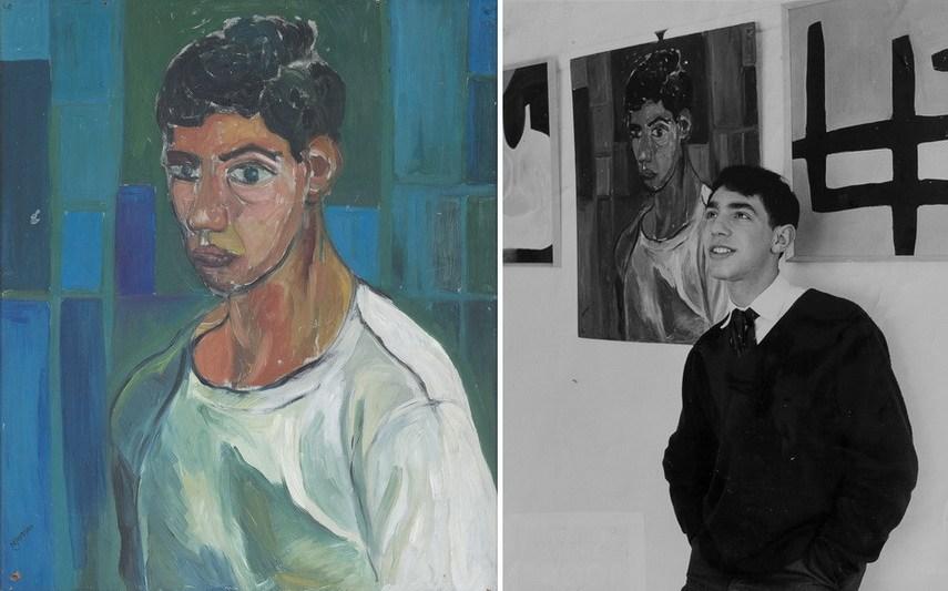 Слева: Дерек Джармен — Автопортрет (1959 год). Холст, масло, 76,2 x 63,5 см, частное собрание / Справа: Дерек Джармен с а