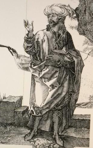 """""""Андрей Ханов в молодости (1990-е) проповедует книгу """"Жизнь против тьмы"""" - мёртвым. Рисунок Рината Байбекова, Великобрита"""