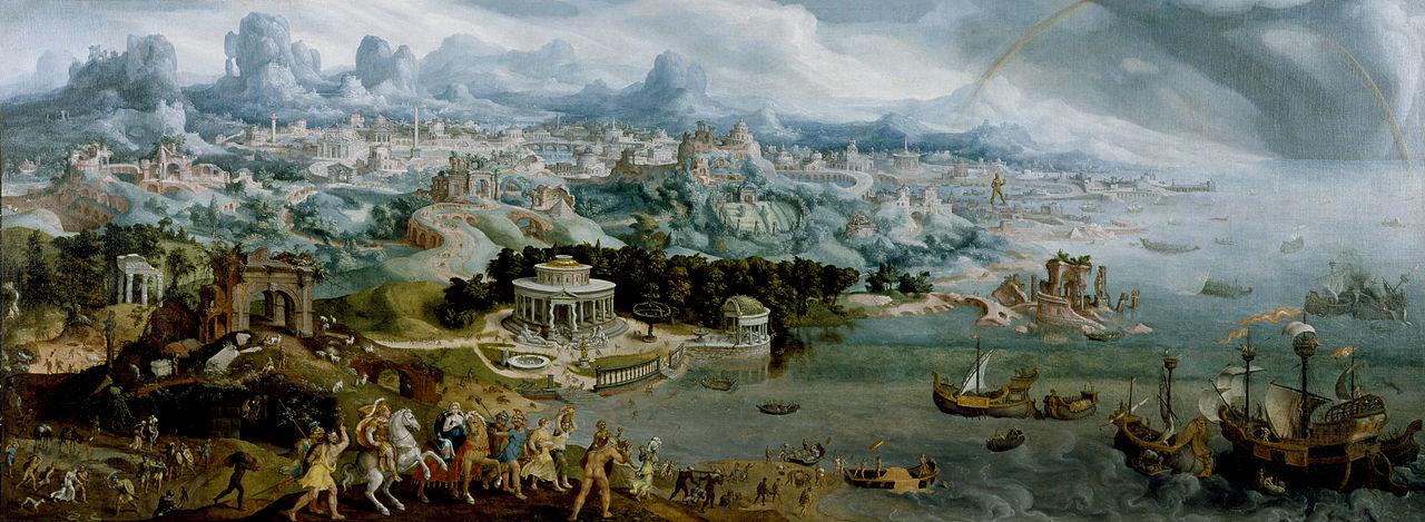 Мартен ван Хемскерк, похищение Елены с панорамой семи чудес света, 1535 г.