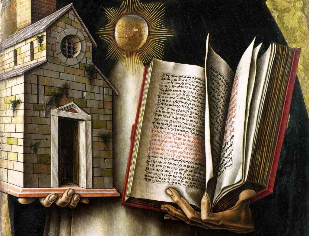 Обычно Фому Аквинского изображают с «Суммой теологии» в руках