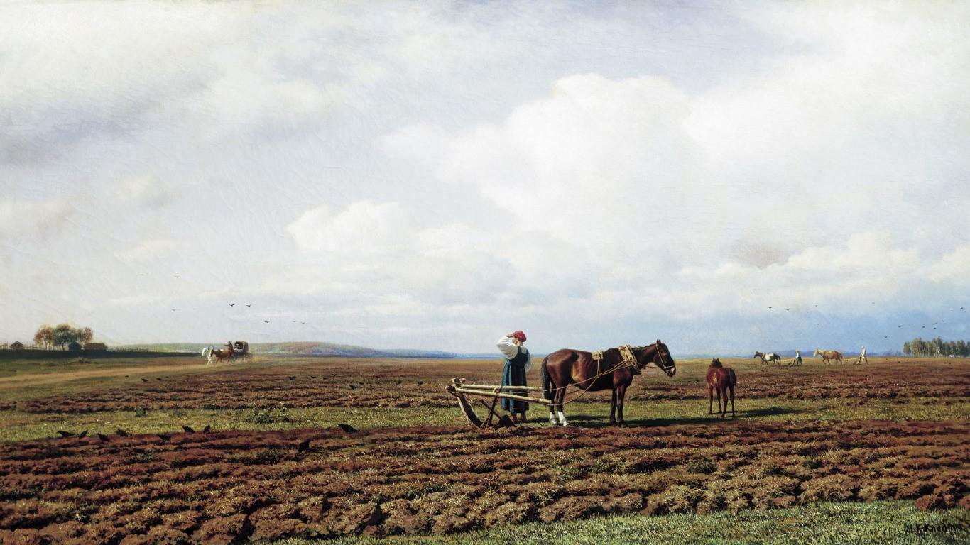 На пашне. М.К. Клодт, 1872. Государственная Третьяковская галерея