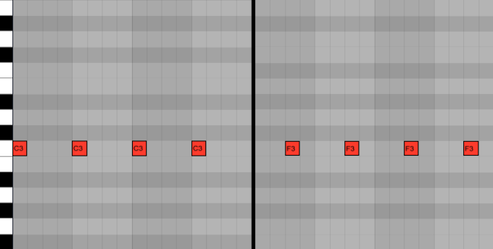 <b>Пример 1: простейшая off-beat партия (справа) с прямой бочкой (слева)</b>