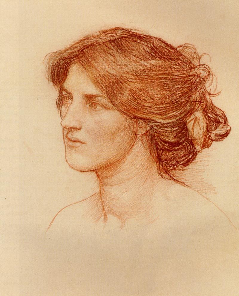 Этюд к работе «Срывайте розы поскорее», Джон Уильям Уотерхаус