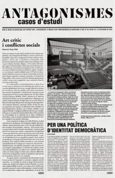 Газета выставки «Антагонизмы. Кейсы», MACBA, 2001.