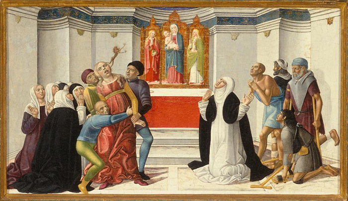 Джироламо ди Бенвенуто. Святая Екатерина Сиенская изгоняет демона из одержимой. c.1500.