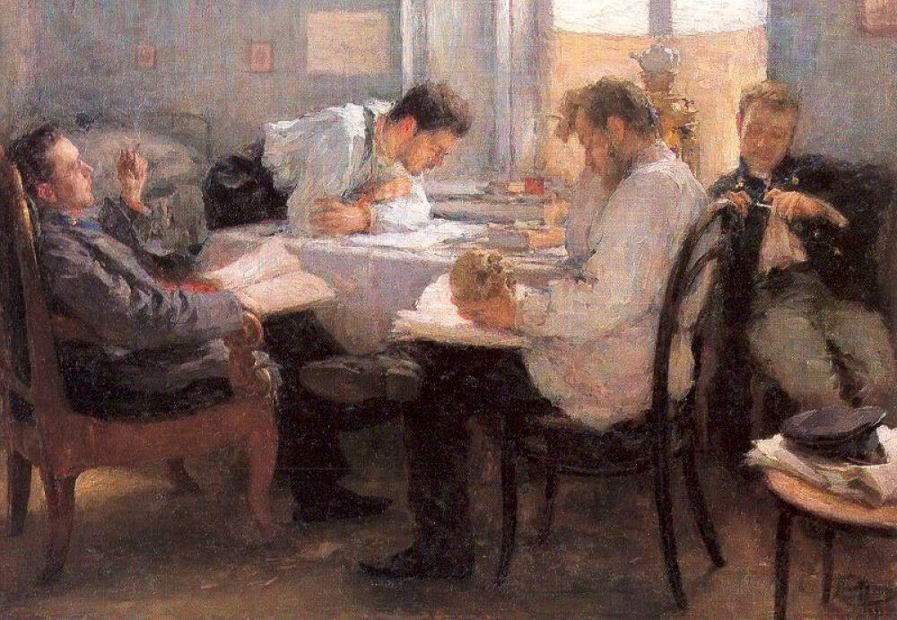 Леонид Пастернак, Ночь накануне экзамена, 1895
