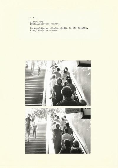 3 сентября 1977 〇 Прага, Вацлавская площадь 〇 На эскалаторе…повернувшись, смотрю в глаза человеку, который стоит за мной…