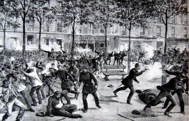 Разгон полицией рабочего митинга 4 мая 1886 г. на площади Хеймаркет