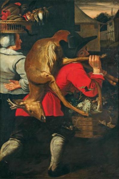 Снейдерс, Франс, мастерская. Крестьяне по дороге на рынок. Фландрия, первая половина XVII век. Холст, масло. 172×113 см.