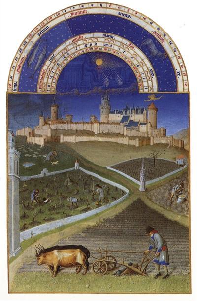 Месяц март. Роскошный Часослов герцога Жана Беррийского. 1412-1416. Музей Конде, Шантийи