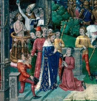 Иллюстрация из средневекового манусткрипта. Король франков Хлодвиг I исцеляет прокаженного.