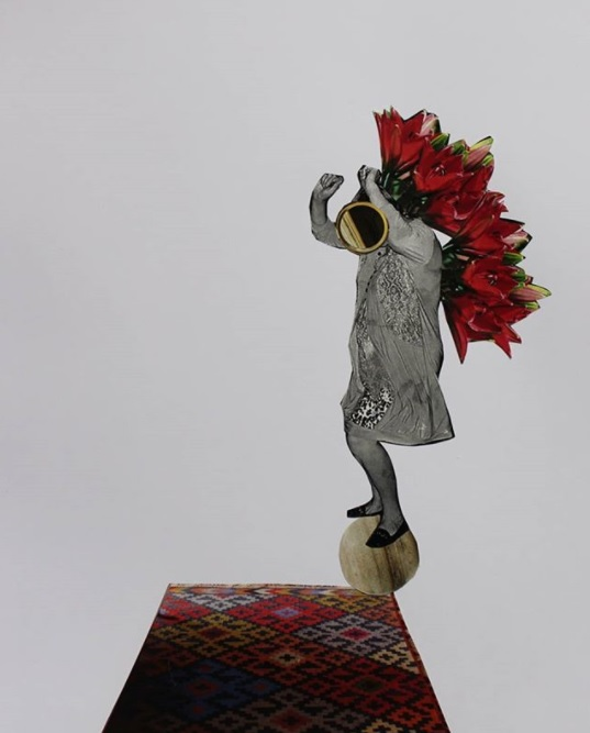 Девочка на шаре. Серия коллажей «Перелетные птицы». Коллаж 29.7*21 бум/клей