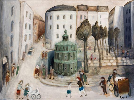 Курт Мюленхаупт. Вид на Шамиссоплац. В центре - знаменитый зеленый общественный туалет на площади